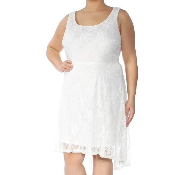 Love Squared Gray Womens Size 1X Plus Scoop Neck Sheath Dress