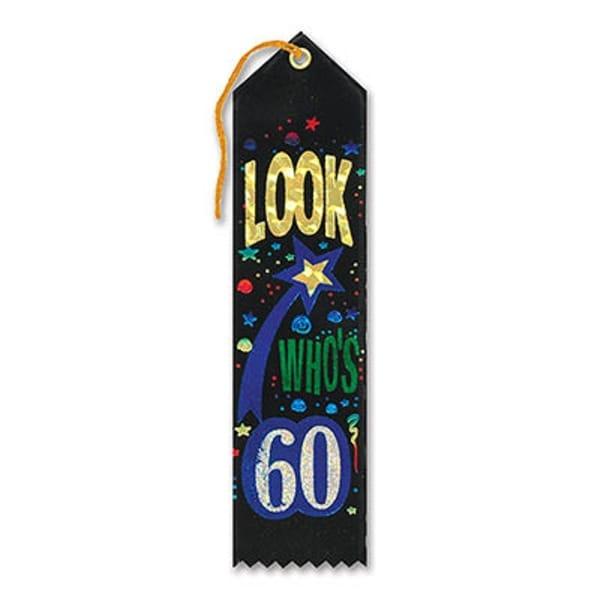 "Pack of 6 Black ""Look Who's 60 Award"" School Award Ribbon Bookmarks 8"" - N/A"