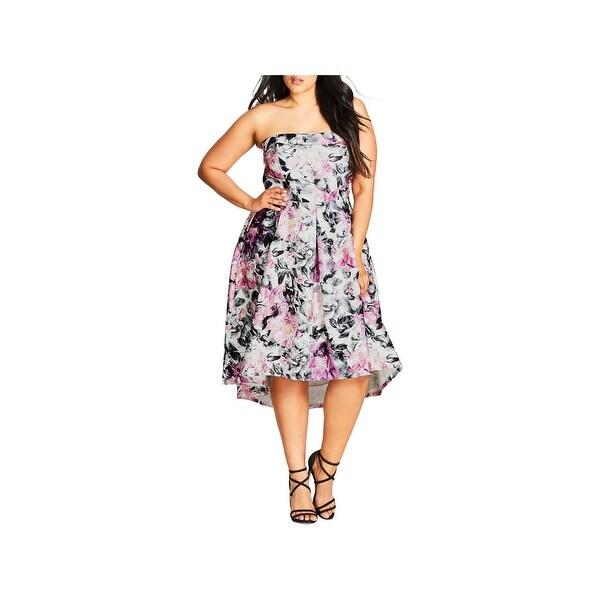 City Chic Womens Plus Gracie Party Dress Strapless Hi-Low
