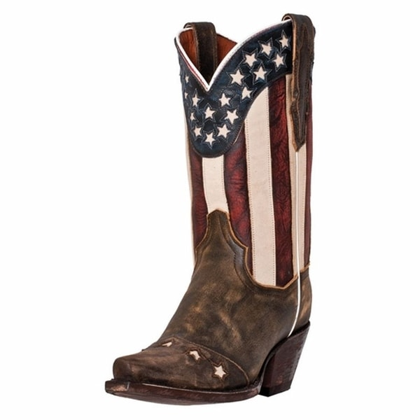 Dan Post Western Boots Womens Cowboy Liberty American Flag Tan