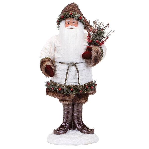 "23"" Decorative White Fur Santa Standing on Snow Base"