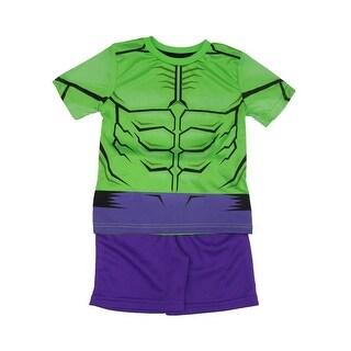 Marvel Little Boys Green Purple Hulk Short Sleeve Top 2 Pc Shorts Set