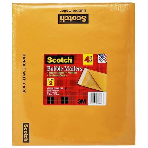 """Scotch 7914-4 Durable Puncture Resistant Bubble Mailer, 8-1/2"""" x 11"""", Kraft"""