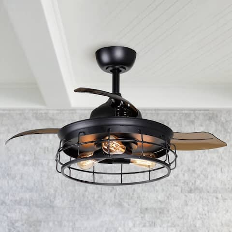 Industrial 36-inch Black 3-Blade Ceiling Fan with Light Kit - 36-in