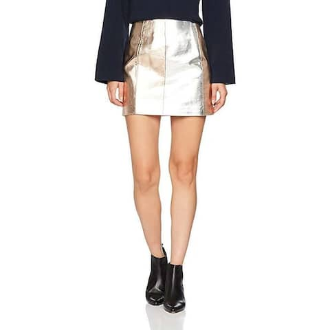 French Connection Women's Silver Rose Gold Metallic Zip Front Mini Skirt (6) - Silver Rose Combo - 6