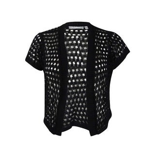 NY Collection Women's Plus Cropped Open-Knit Shrug (1X, Black) - Black - 1x