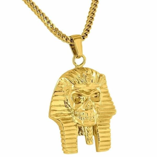 """Authentic Egyptian Pharaoh Skull Pendant 18K Gold Tone Stainless Steel Chain 24"""""""