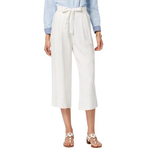 Tommy Hilfiger Womens St. Tropez High-Waist Pants Tencel Cropped