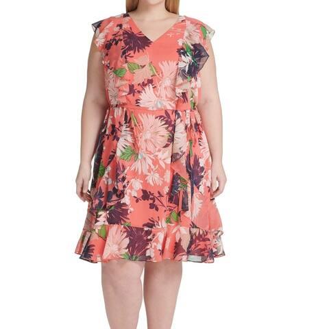 Tommy Hilfiger Women's Dress Orange Size 20W Plus Shift Floral Belted