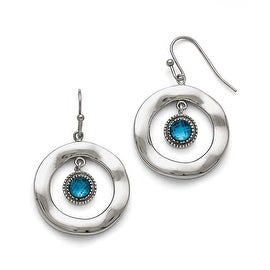 Chisel Stainless Steel Polished Wavy Circle Blue Glass Earrings