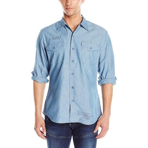 "G-Star Raw Denim Shirt X-Large XL Blue GSRD Graphic ""Hold Onto Me"""