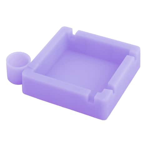 Home Office Car Silicone Heat Resistant Ashtray Cigarette Holder Container Light Purple
