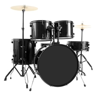 Costway 5-Piece Full Size Complete Adult Drum Set +Cymbal+Throne Black