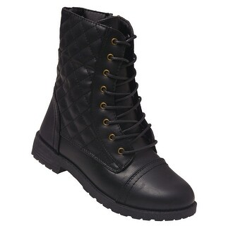 Weeboo Adult Black Lace-Up Quilted Panels Mid-Calf Combat Boots