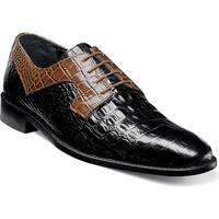 Stacy Adams Men's Garelli Plain Toe Oxford 25116 Black/Mustard Croco Print Leather