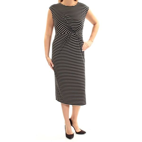 0f2094e7d4d7e0 Shop TOMMY HILFIGER Womens Black Striped Cap Sleeve Jewel Neck Midi Sheath  Dress Size  L - Free Shipping On Orders Over  45 - Overstock - 25717498