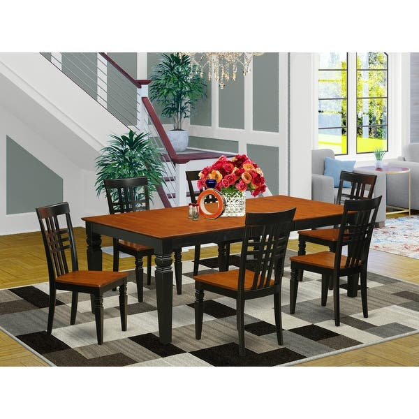 Logan Wood Extendable Dining Table And 6 Chairs Set Overstock 14366524