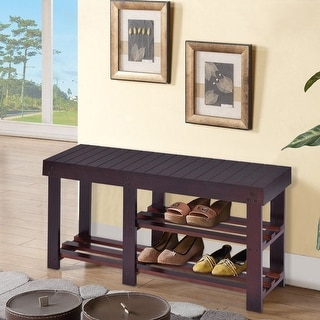 black wood entryway benches with shoe storages | Costway Wooden Shoe Bench Boot Storage Shelf Organizer ...