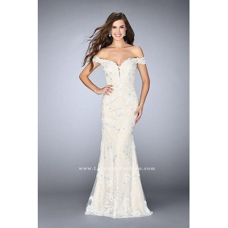LACE BEADED GOWN OFF SHOULDER
