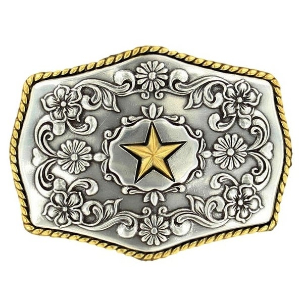 Nocona Western Belt Buckle Star Roped Silver Gold - 2 3/4 x 3 1/2