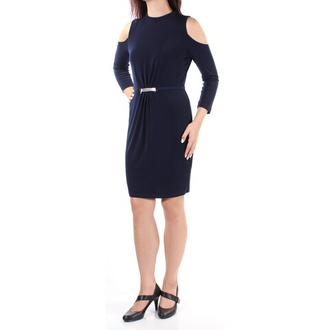 JESSICA SIMPSON Womens Navy Cut Out 3/4 Sleeve Jewel Neck Above The Knee Sheath Dress Size: XL