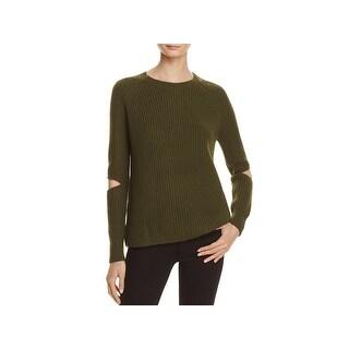 Zoe Jordan Womens Turing Pullover Sweater Wool Blend Slit Sleeves - S/M