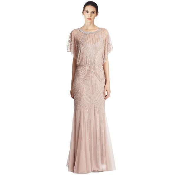 Aidan Mattox Dolman Sleeve Beaded Godet Evening Gown Dress