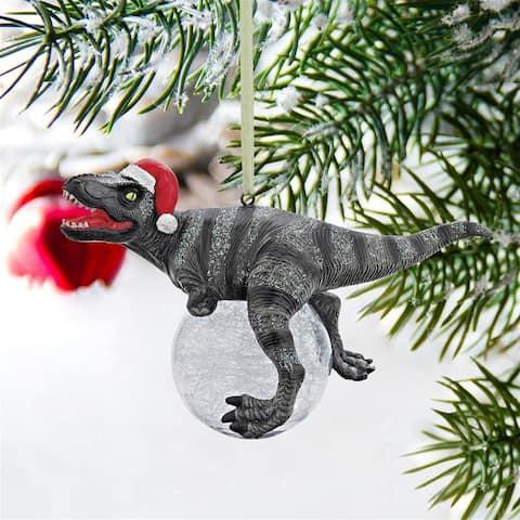 Design Toscano QS93320 Blitzer the T Rex Dinosaur Christmas Tree Ornament, 5 Inch, Single
