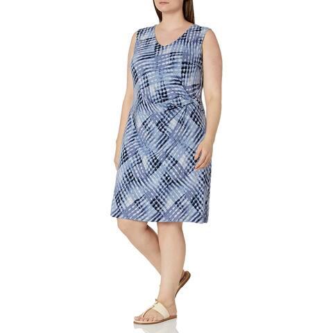 NIC+ZOE Womens Sheath Dress Blue Size Large L Crossover Tie Dye Twist
