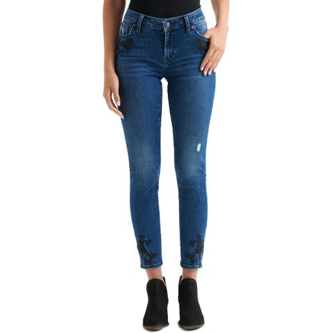 Lucky Brand Womens Lolita Skinny Jeans Denim Embroidered
