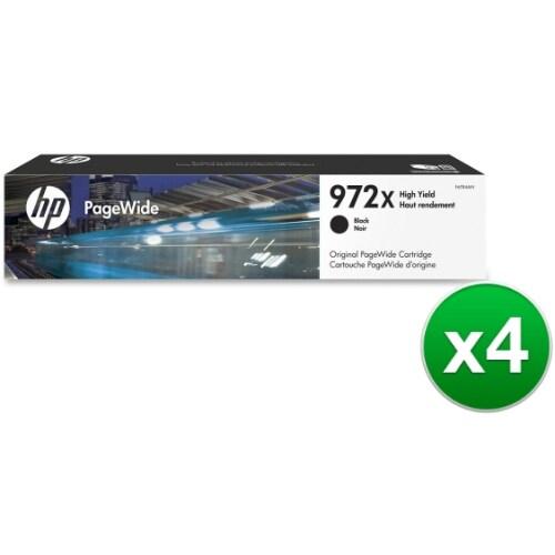 HP 972X High Yield Black Original Ink Cartridge (F6T84AN)(4-Pack)
