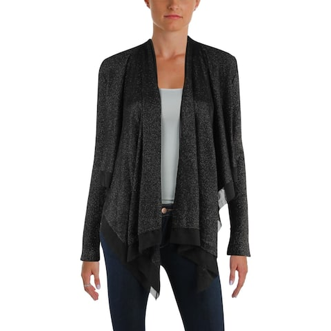 Nic + Zoe Womens Cardigan Sweater Metallic Long Sleeves