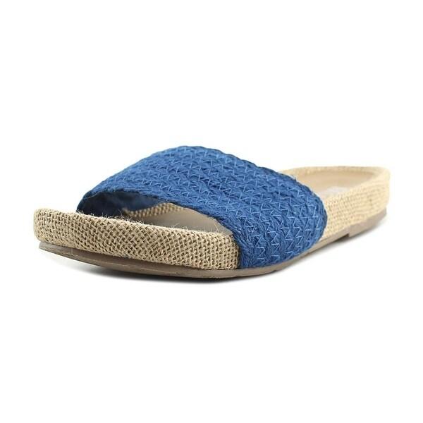Mia Linara Women Open Toe Canvas Blue Slides Sandal
