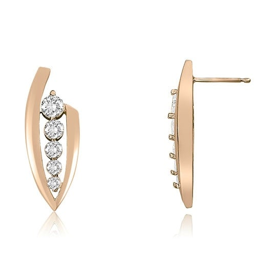 0.75 cttw. 14K Rose Gold Stylish Round Cut Diamond Journey Earrings