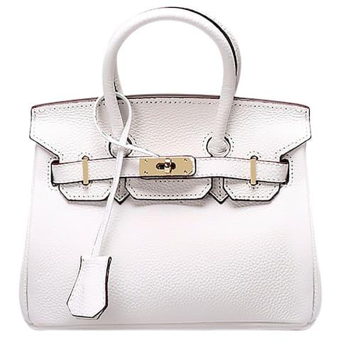 d73c56878df2 QZUnique Women's Cowhide Genuine Leather Fashion Zipper Buckle Belt Metalic  Top Handle Bag
