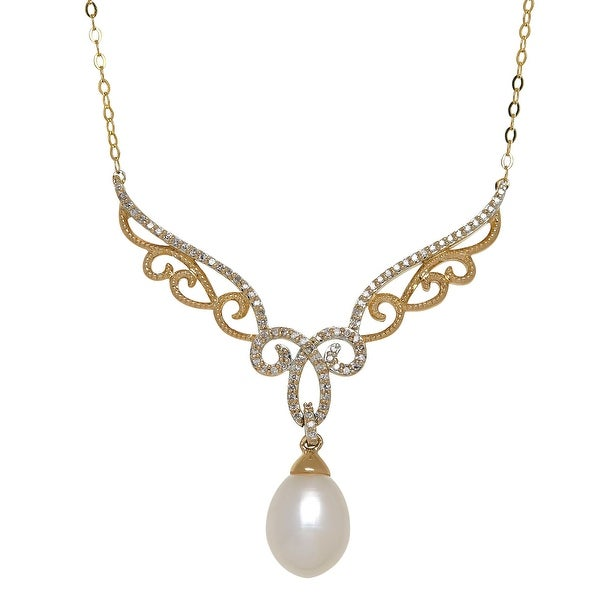 Freshwater Pearl & 1/5 ct Diamond Filigree Garland Necklace in 14K Gold