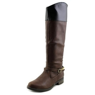 Qupid Turner-16 Women Round Toe Synthetic Brown Knee High Boot