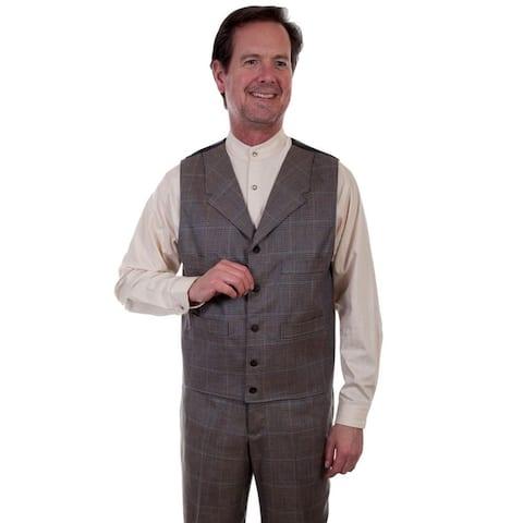 Scully Western Vest Mens 4 Pocket Button Plaid Wahmaker - Multi