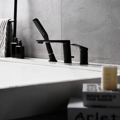 Bathroom Bathtub Tap With a Handheld Three-piece Bathtub Faucet Set