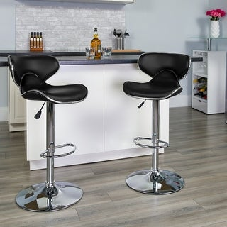 "Link to Contemporary Cozy Mid-Back Vinyl Adjustable Height Barstool with Chrome Base - 16""W x 17.5""D x 34.5"" - 43""H Similar Items in Dining Room & Bar Furniture"