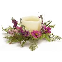 Pack of 6 Decorative Springtime Purple Cosmos and Fern Candle Ring