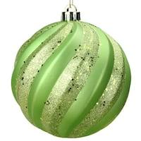 "Green Kiwi Glitter Swirl Shatterproof Christmas Ball Ornament 6"" (150mm)"