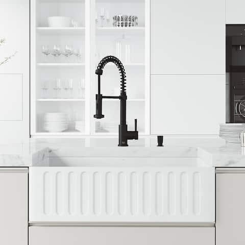 VIGO 33-in Matte Stone Farmhouse Slotted Apron Front Kitchen Sink with Edison Faucet in Matte Black