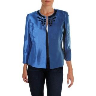 Kasper Womens Petites Embellished Collarless Open-Front Blazer