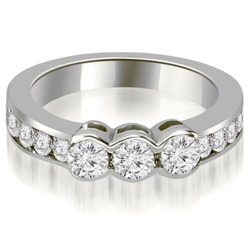 1.10 cttw. 14K White Gold Bezel Set Round Cut Diamond Wedding Band