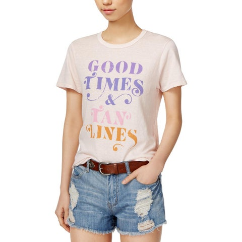 Junk Food Womens Good Times Graphic T-Shirt Distressed Crew Neck
