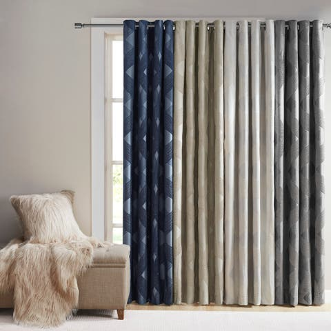 Abel Ogee Knitted Jacquard Total Blackout Curtain Panel by SunSmart