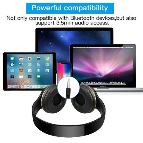 AGPTEK Wireless Bluetooth Headphones Stereo Heavy Bass Earphones Over the Ear Headset with 3.5mm Audio Port - S