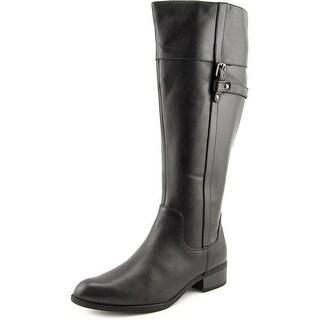 Easy Spirit Domina Wide Calf Women Round Toe Leather Black Knee High Boot