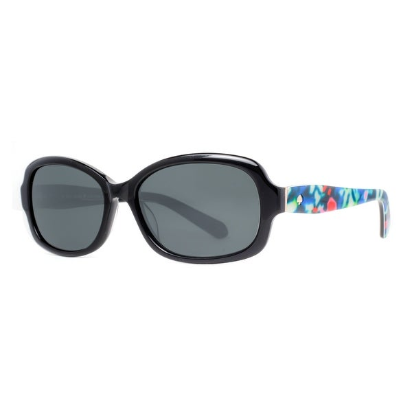 Kate Spade KS DARYA/S X74P Shiny Black/Floral Polarized Women's Sunglasses - shiny black/floral - 55mm-16mm-135mm